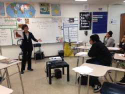 Gabriella Karin shares her experiences as  hidden child during the Holocaust with students at Locke High School.