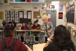 Holocaust Survivor Regina Hirsch speaks to students at Animo Ralph Bunche.